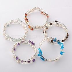 Bracelets enroulés avec puces de pierre gemme, l'argent et le platine, pierre mixte, 53mm(BJEW-JB01518)