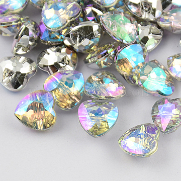 1-Hole Taiwan Acrylic Rhinestone Heart Buttons, Faceted & Silver Plated Pointed Back, Colorful, 25x25x10mm, Hole: 1.5mm(BUTT-F017-25mm-14)
