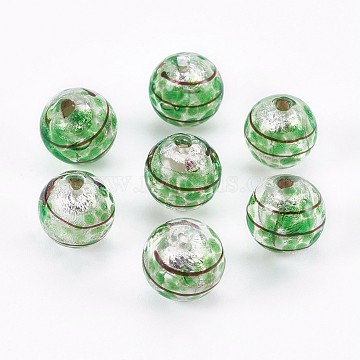 12mm Green Rondelle Silver Foil Beads