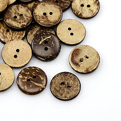 Boutons de noix de coco, 2-trou, plat rond, coconutbrown, 18x4mm, Trou: 2mm(COCO-I002-095)