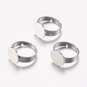 Adjustable 304 Stainless Steel Finger Rings Components, Pad Ring Base Findings, Flat Round, Stainless Steel Color, Tray: 12mm, 17mm(X-STAS-F149-20P)