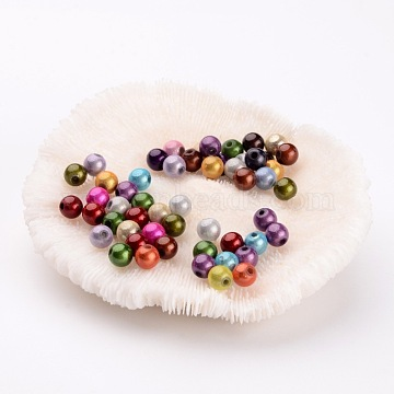 Spray Painted Acrylic Beads, Miracle Beads, Bead in Bead, Round, Mixed Color, 6mm, Hole: 1.5mm(X-PB9282)