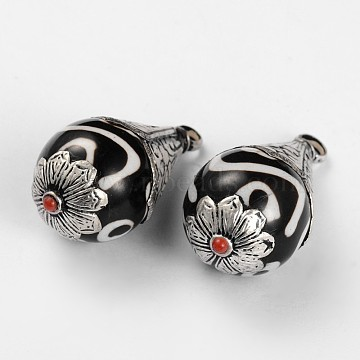 Teardrop Tibetan Style Pendants, with Natural Agate and Antique Silver Brass Findings, White, 42x21mm, Hole: 2mm(TIBEP-F051-12)