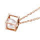 TINYSAND 925 Sterling Silver Cube Pearl Pendant Necklaces(TS-N266-RG)-2