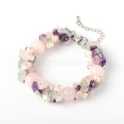 puces de pierre naturelle bracelets, avec perles de nacre, alliage homard fermoirs pince et chaînes finaux de fer, cristal, 190x14 mm(X-BJEW-JB01616-01)