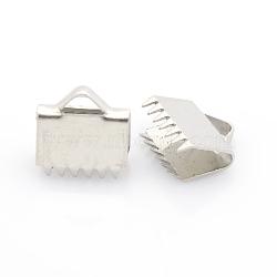 304 extrémités du ruban de serrage en acier inoxydable, couleur inox, 10x11 mm, trou: 2x4 mm(X-STAS-J011-08)
