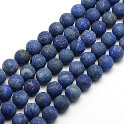 Natural Frosted Lapis Lazuli Round Bead Strands, Dyed & Heated, 10mm, Hole: 1mm; about 37~39pcs/strand, 14.9~15.6inches