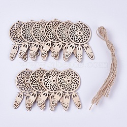 Wood Big Pendant Decorations, with Hemp Rope, Woven Net/Web with Feather, BurlyWood, 79.5x55x2.5mm, Hole: 2mm, Rope: about 36.5~37cm long, 10pcs/bag(WOOD-WH0017-01)