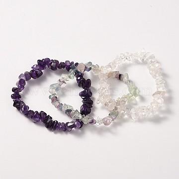 Multi-strand Gemstone Chips Stretch Bracelets, 3 Bracelets a Set, Indigo, 53~55mm(BJEW-PH00610-05)