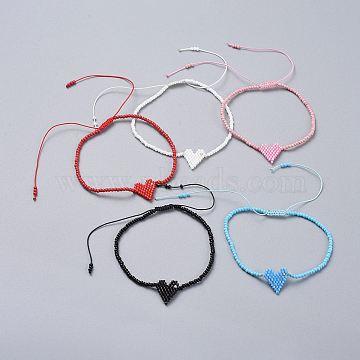 bracelets de perles tressées, avec perles de rocaille en verre et fil de nylon tressé, cœur, couleur mélangée, 2-1 / 8 (5.5 cm)(BJEW-JB04530)