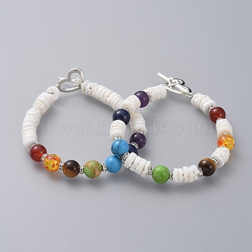 Beaded Bracelet Sets, with Shell Beads, Natural & Synthetic Gemstone Beads, Silver Color Plated Brass Rhinestone Spacer Beads and Alloy Toggle Clasps, Colorful, 7-5/8 inches(19.3cm), 7mm, 2pcs/set(BJEW-JB04744)