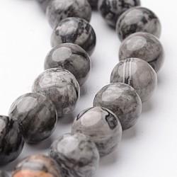 """Chapelets de perles de carte pierre/en picasso pierre/en picasso jasper ronde naturel, 8mm, trou: 1mm; environ 47~48 pcs/chapelet, 15""""(G-J346-03-8mm)"""