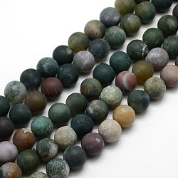 Frosted Natural Indian Agate Round Bead Strands, 10mm, Hole: 1mm; about 37~39pcs/strand, 14.9inches~15.6inches