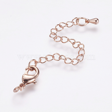 Long-Lasting Plated Brass Chain Extender, with Lobster Claw Clasps and Bead Tips, Real Rose Gold Plated, 12x7x3mm, Hole: 3.5mm; Extend Chain: 65mm; ring: 5x1mm(X-KK-F711-09RG)