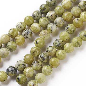 Natural Yellow Turquoise(Jasper) Beads Strands, Round, 6~6.5mm, Hole: 1mm; about 63pcs/strand, 15.5 inches(G-Q462-6mm-22)