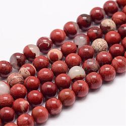 """Chapelets de perles en jaspe rouge naturel, rond, 10mm, trou: 1mm; environ 38 pcs/chapelet, 15.5""""(G-K153-B19-10mm)"""