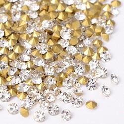 Retour plaqué verre de diamant a strass, cristal, 1.5~1.6 mm; environ 1440 PCs / sac(RGLA-SS4-001)