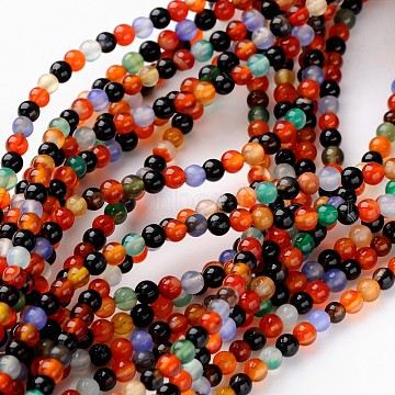 16inches Round Gemstone Strands, Color Agate, Round, about 95pcs/strand, 4mm in diameter, hole: 0.8mm(X-GSR4mmC136)
