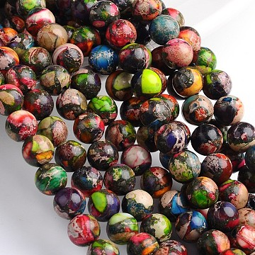 Dyed & Heated Natural Imperial Jasper Round Beads Strands, Colorful, 8mm, Hole: 1mm, about 49pcs/strand, 16 inches.(X-G-M274-06-8mm)