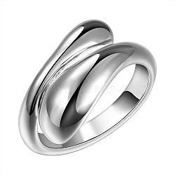 классические регулируемые манжеты латунные кольца, широкий указательный палец кольца бижутерия, Размер 7, серебро, 17.5 mm(RJEW-BB12036)
