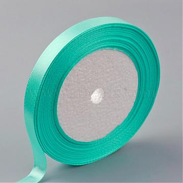 Single Face Satin Ribbon, Polyester Ribbon, Cyan, 3/8 inch(10mm), about 25yards/roll(22.86m/roll), 10rolls/group, 250yards/group(228.6m/group)(RC10mmY011)