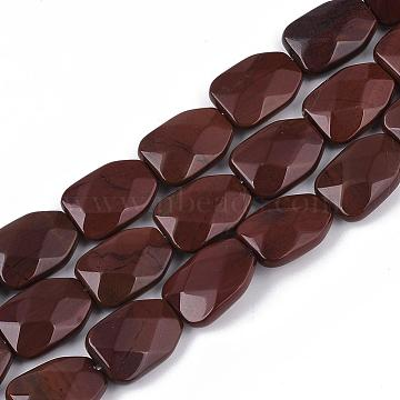 Natural Red Rainbow Jasper Beads Strands, Faceted, Calabash, 16~16.5x12x6mm, Hole: 1mm; about 12pcs/strand, 7.8inches(G-T122-01H)