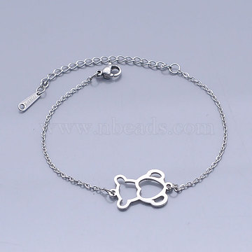201 Stainless Steel Link Bracelets, with Lobster Claw Clasps, Bear, Stainless Steel Color, 6-7/8 inches~7 inches(17.5~17.7cm)(BJEW-T011-JN484-1)