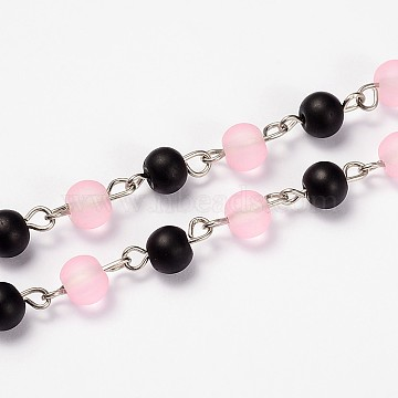 Frosted Transparent Round Glass Beads Chains for Necklaces Bracelets Making, with Platinum Iron Eye Pin, Unwelded, Black, 39.3 inches(AJEW-JB00104-01)