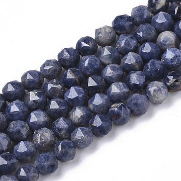 brins de perles de saphir naturel, facettes, arrondir, 4 mm, trou: 0.7 mm, environ 94 pcs / brin, 15.35 (39 cm)(G-S361-4mm-009)