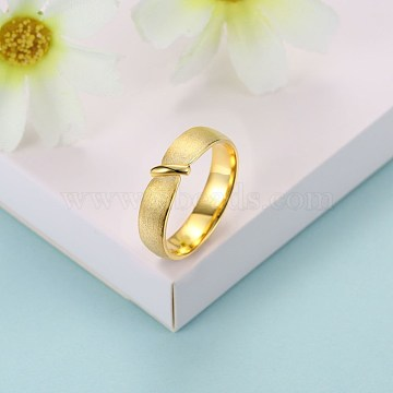 Trendy Sterling Silver Finger Rings, Frosted Style, Size 7, Golden, 17.3mm(RJEW-BB29188-C-7)