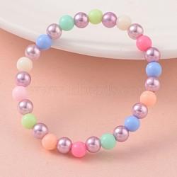 Imitation perle acrylique perlée étirement enfants bracelets, avec des perles acryliques opaques, lilas, 43 mm(BJEW-JB02069-03)