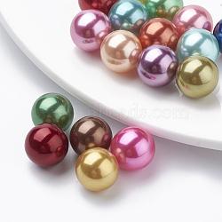 perles de perles d'imitation en plastique de l'environnement, haut lustre, Grade A, pas de billes de trous, arrondir, couleur mélangée, 16 mm(MACR-S277-16mm-C)