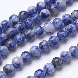perles de jaspe tache bleue naturelle, arrondir, 6 mm, trou: 1 mm; environ 60 perle / brin, 15.15(G-D855-10-6mm)