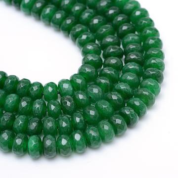4mm Green Rondelle White Jade Beads