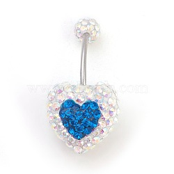 Austrian Crystal Belly Rings, with 316 Stainless Steel and Polymer Clay, 243_Capri Blue, Size: Length: about 27mm long(X-SWAR-G011-243)