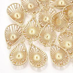 Pendentifs en laiton, avec zircons, pour la moitié de perles percées, goutte , véritable 18k plaqué or, clair, 24x15x5mm, trou: 1.2 mm; broches: 1 mm(KK-T035-106)