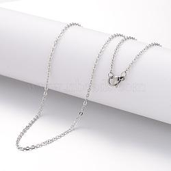 """Création de collier en 304 acier inoxydable, chaînes câblées, avec fermoirs mousquetons, couleur inoxydable, 17.72"""" (450 mm); 2mm(STAS-J023-05P)"""