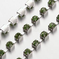 4 mm de large catégorie de ton argent un vêtement décoratif de chaînes en laiton garniture péridot strass grade A tasse de strass grade A(X-CHC-S16-02S)