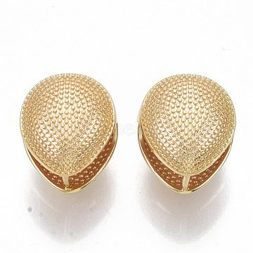 Brass Clip-on Earring, Nickel Free, Teardrop, Real 18K Gold Plated, 17.5x15.5mm, Pin: 1.2mm(KK-T050-52G-NF)