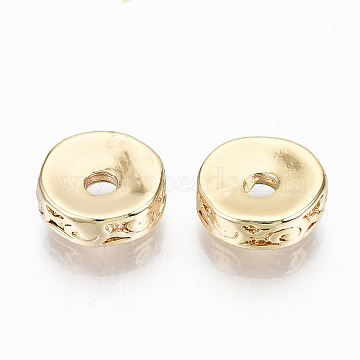 Brass Corrugated Beads, Nickel Free, Flat Round, Real 18K Gold Plated, 8x2.5mm, Hole: 1.8mm(KK-N231-198-NF)