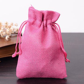 Polyester Imitation Burlap Packing Pouches Drawstring Bags, Deep Pink, 12x9cm(X-ABAG-R005-9x12-08)
