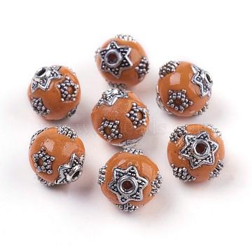 11mm Orange Round Polymer Clay Beads