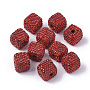 Polymer Clay Rhinestone European Beads, Large Hole Beads, Cube, Light Siam, pp12(1.8~1.9mm); 14~15x14~15x14~15mm, Hole: 4mm