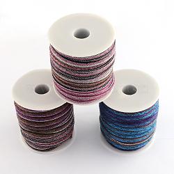 Cordon ethnique cordon en tissu, couleur aléatoire simple ou couleur mélangée aléatoire, 6~7 mm; environ 8 m/rouleau(OCOR-Q003-07)