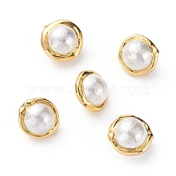 Natural Cultured Freshwater Pearl Beads, with Golden Plated Brass Edge, Round, FloralWhite, 17~20x14~15mm, Hole: 0.8mm(X-PEAR-G008-09E)