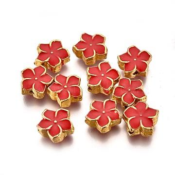 Alloy Enamel Beads, Flower, Light Gold, Red, 7x7.5x3mm, Hole: 1mm(PALLOY-P144-20KCG-B)