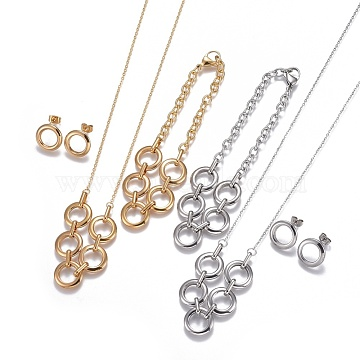304 Stainless Steel Jewelry Sets, Necklaces, Stud Earrings and Bracelets, Ring with Ring, Mixed Color, 21.25 inches(54cm), 15x2.5mm, Pin: 0.7mm, 8-5/8 inches(22cm)~9-1/4 inches(23.5cm)(STAS-I108-08)