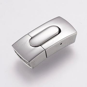 304 Stainless Steel Bayonet Clasps, Rectangle, Stainless Steel Color, 29.5x13.5x8mm, Hole: 5x12mm(STAS-F122-38P)