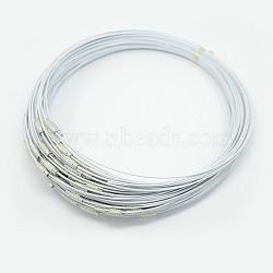 """Fil d'acier pour collier, agréable pour les bijoux DIY faisant, avec du laiton fermoir à vis, blanc, 17.5"""", 1 mm(X-TWIR-SW001-4-1)"""