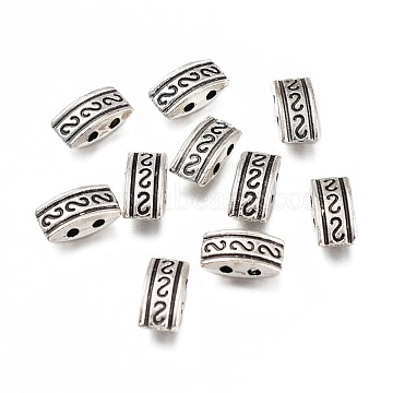 Tibetan Style Alloy Multi-Strand Links, Oval with S Pattern, Antique Silver, 10x5x3.5mm, Hole: 1mm(PALLOY-H170-48AS)